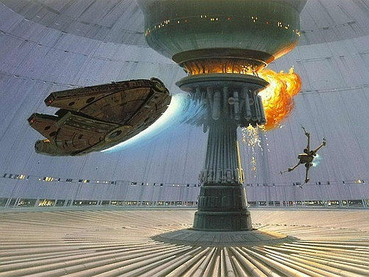 Millennium-Falcon-and-x-Wing-destroy-new-Death-Star-ralph-McQuarrie